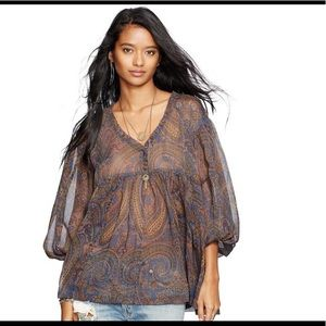 Denim & Supply Ralph Lauren chiffon paisley top L
